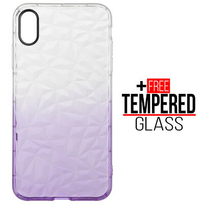 Pour iPhone XS Max Diamond Pattern Cas Cover Soft Silicone Gel Shockproof Violet