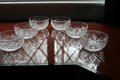 """6 Quality Vintage Crystal Dishes In Good Condition, Bright And Clear 2.1/8"""" Tall"""