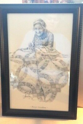 """Robert (Bob) Annesley Framed 2 Signatures Print """"mary's Sunshine"""" Pencil Drawing"""
