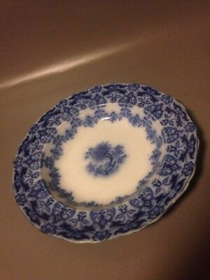 A mid 19th century large Indian Festoon dinner bowl 1800s blue floral antique