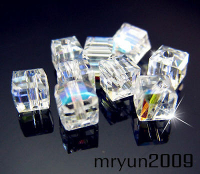 AB Beads Square Findings 5601 Spacer Free PENDANT Clear Crystal Loose 100pcs 4MM