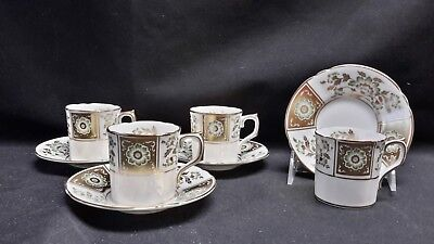 Royal Crown Derby Bone China Green Derby Panel Set of 4 Demitasse Cups & Saucers