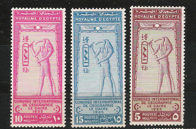 L16-213 Ägypten 1925 Minr. 94-96 *  Internationaler Geographenkongreß Kairo