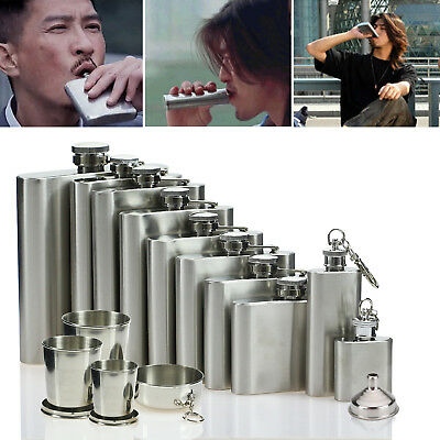 4 5 6 7 8 9 10 18oz Stainless Steel Hip Liquor Whiskey Alcohol Flask Cap Funnel