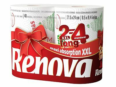Renova White Print 2 Ply Christmas Xmas Kitchen Paper Towels - 24 Rolls
