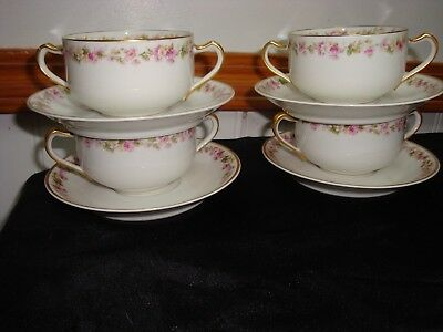 Haviland & Co  Limoges Pink And White Floral Band Bouillon Cups And Saucers (4)