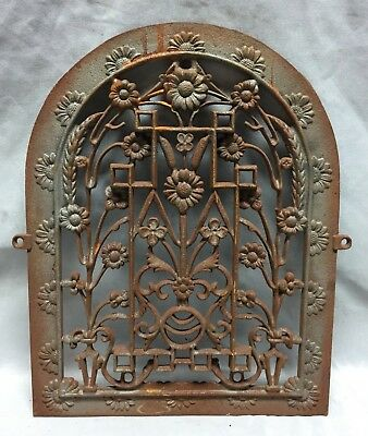 One Antique Arched Top Heat Grate Grill Floral Decorative Arch 11X14 627-18C