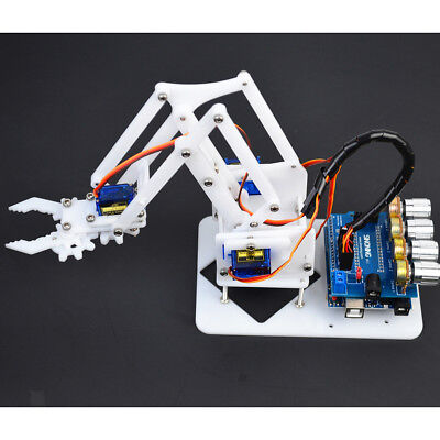 Mechanical DIY 4-Dof Robot Arm 4 Servos Set for Arduino Science Toy White