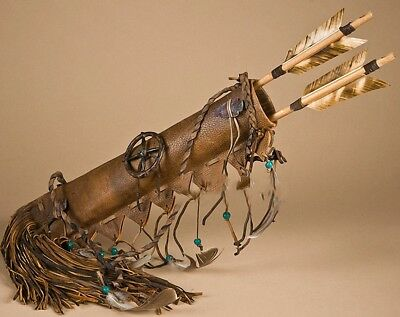 AUTHENTIC Native American NAVAJO Made WHITE Deer Skin Quiver and Arrows Set