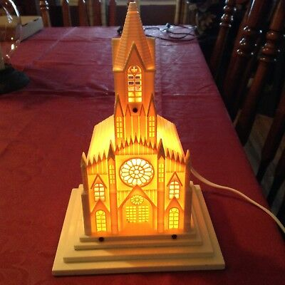 Vintage 1950's Raylite Hard Plastic Stained Glass Window Church with Music Box