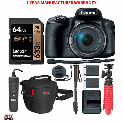 Canon PowerShot SX70 HS Camera with Memory Cards, Tripod + Accessory Bundle