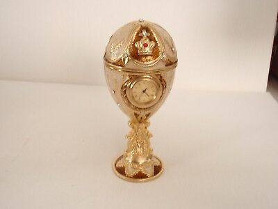 "New Kingsport Faberge Clock Goose Egg, Ivory/ Gold & Gems, 5 3/8"" Tall."