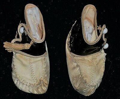 Vintage Pair of Baby's White & Black High Button Shoes