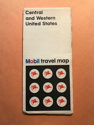 Mobil Central & Western United States 1970 Gas Station Road Map Rand McNally