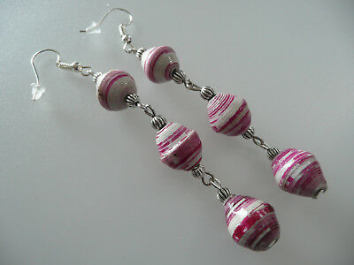 Vintage Art Deco Style Pink & White Ceramic Long Earrings Boho Prom Party