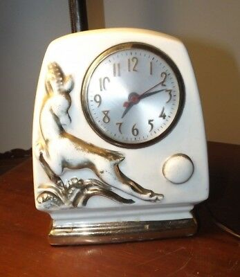 Vintage 1950's Mid Century Modern Ceramic Table Clock TV LAMP STYLE RUNS GREAT