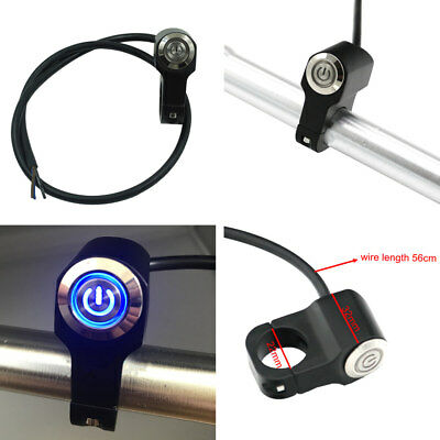 "Motorcycle 7/8"" Handlebar Headlight Fog Light ON-OFF Switch With Blue Indicator"