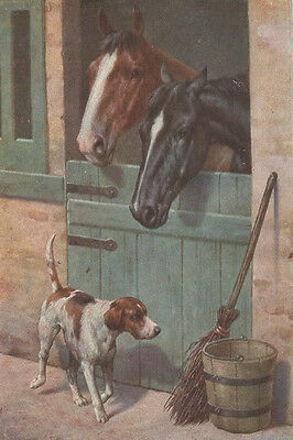 Pointer Dog & Horses by Carl Reichert pre 1918 - LARGE New Blank Note Cards