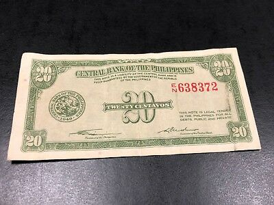 1949 Central Bank of the Philippines 20 twenty centavos note - Nice