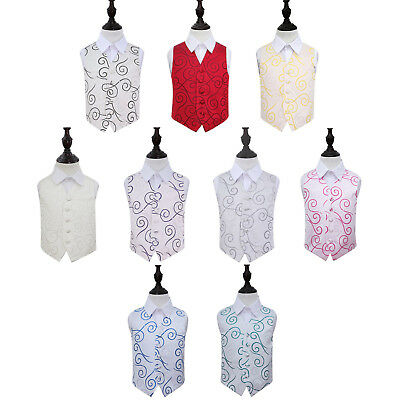 DQT Woven Scroll Tuxedo Communion Page Boys Wedding Waistcoat 2-14 Years