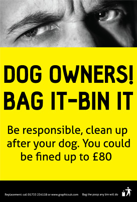 No Dog Fouling / Dog Poo / Dog mess / Clean Up After Your Dog Warning Stickers