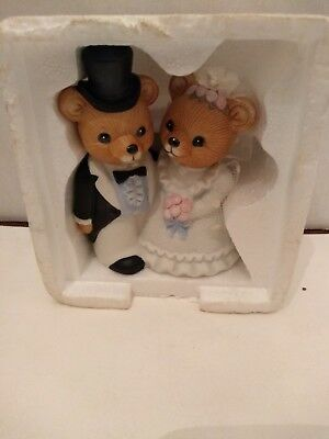 Homco Teddy Bears **WEDDING COUPLE** Bride and Groom Ceramic Porcelain CAKE TOP