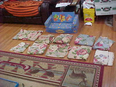 Vintage Barkcloth Waverly Bonded Fabric 9 Pieces Roses Unfinished Large Curtains