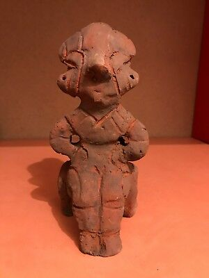 Scarce Stone Age Neolithic Anthropomorphic Vinca Clay Terracotta Idol - 4500 Bc