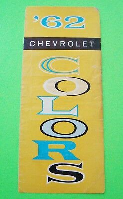 scarce 1962 CHEVROLET FACTORY COLOR CHIPS FOLDER BROCHURE Complete BUT TAPED