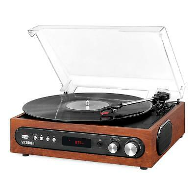 Record Player Vinyl Turntable Bluetooth with Built in Speakers Mahogany 3 Speed
