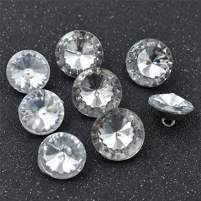 50Pcs Rhinestone Buttons Lot Clear Crystal Upholstery Sewing Craft Accessories