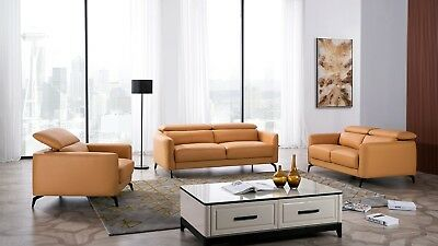 3 PC MODERN Yellow Genuine Leather Sofa Loveseat Chair Living Room ...