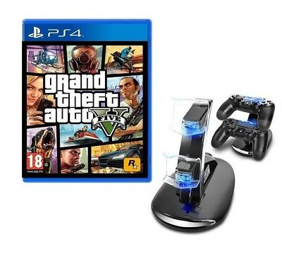 Gta 5 Pacchetto Bundle Ps4 + Base Ricarica Dualshock Play Station 4 Gta V Nuovo