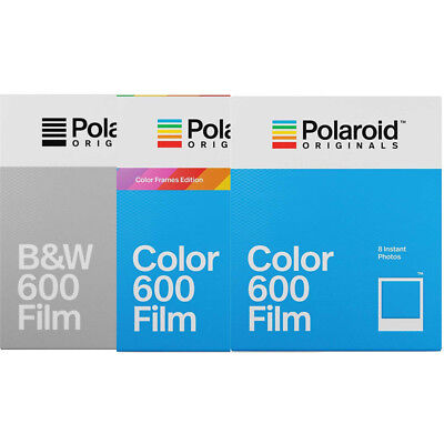 3 Pack Value Set Polaroid Originals 600 Color, B & W, Color Frame Instant Film
