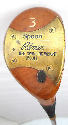 Vintage Persimmon Palmer Spoon Reg Swinging Weight 3 W Golf Club Reg Steel Shaft