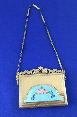 Vintage Silver Tone Metal Enamel Rose Floral Compact With Wrist Chain & Mirror