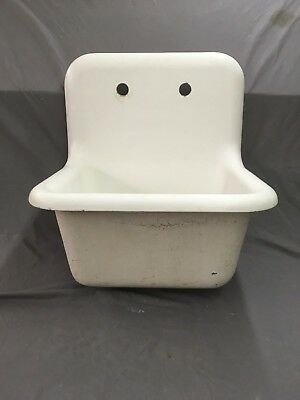 Antique Cast Iron White Porcelain High Back Utility Laundry Slop Sink 627-18E