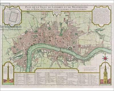 """18256303 10""""x8"""" (25x20cm) Print Plan of the Towns of London and W..."""