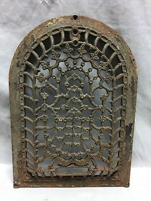 One Antique Arched Top Heat Grate Grill Stars Flowers Pattern Arch 10X14 636-18C