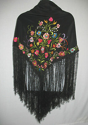 """Vintage Black Floral Embroidered Fringe Very Large Piano Shawl Size 49"""" x 46.5"""""""