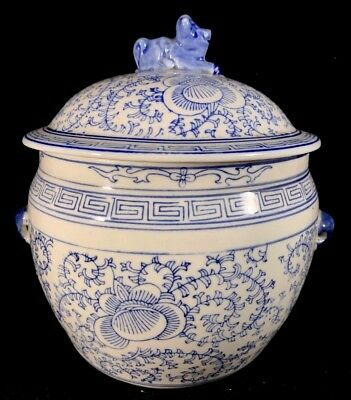 Chinese Antique Blue And White Porcelain Jar With Flowers