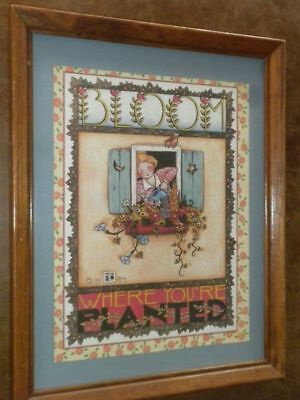 """Mary Engelbreit """"Bloom Where You're Planted"""" 1984 Framed Print 12"""" X 15"""""""