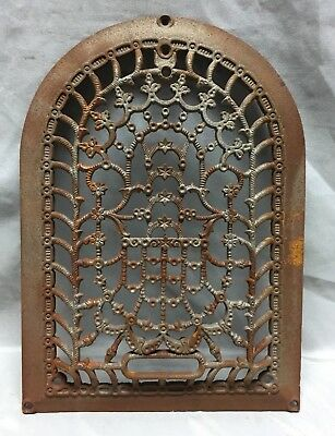 One Antique Arched Top Heat Grate Grill Stars Flowers Pattern Arch 10X14 637-18C
