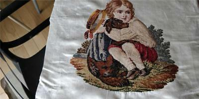 Antique Petite Point / Wool Work Tapestry On Silk Girl And Her Dog
