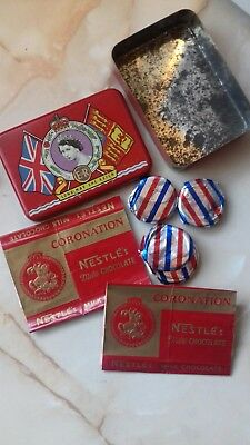 1953 Coronation tin inc Milk Bottle Tops, Nestle Chocolate wrappers from the day
