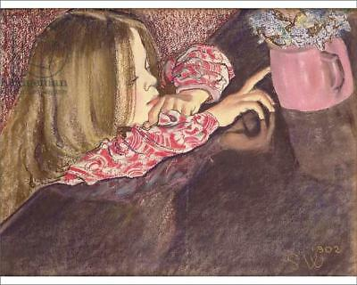 """18250867 10""""x8"""" (25x20cm) Print Girl with a Vase of Flowers, 1902..."""