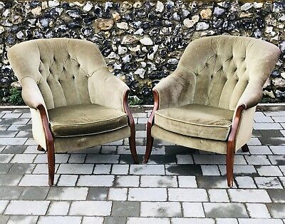 Pair Antique Button Back Tub Armchairs Upholstered In Olive/green Fabric