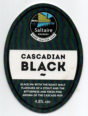 Beer pump clip front. Saltaire Brewery, CASCADIAN BLACK, Black IPA