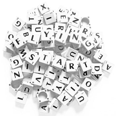 100 Plastic Scrabble Tiles White Black Letters Numbers For Crafts Alphabets Play