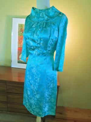 Vtg MCM MOD  Brocade Wiggle Dress Mod Pin Up Body Con Marilyn Jackie  XS or teen